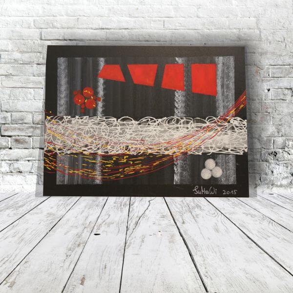 Schwarz-Weiß-rot Acrylbild abstrakt 80x60 - Acrylbilder ...
