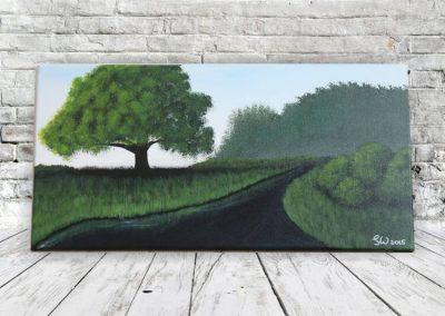 Am Fluss Landschaftsbild mit Baum und Wasser Acrylfarbe auf Leinwand - Wandbild