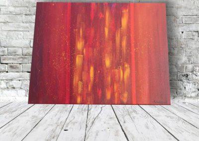 Wandbild Abstrakt Feuersäule Acrylbild auf Leinwand in rot, orange