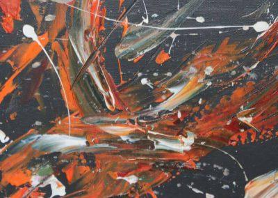 Acrylbild Abstrakt - Wandbild mit orange, rot und weiß auf schwarzem hintergrund