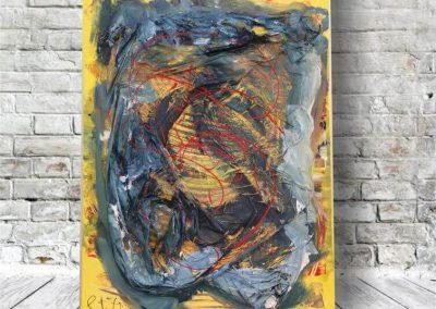 Abstrakte Kunst - Plastikerde - gelb und grün mit plastik