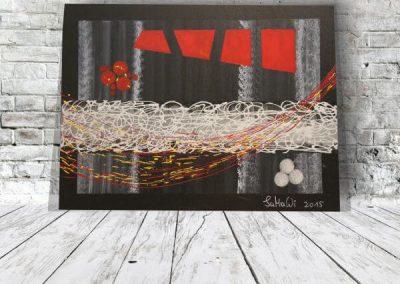 Schwarz Weiß Rot - Acrylbild Abstrakt Leinwandbild